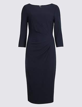 M&S Collection Drape 3/4 Sleeve Shift Midi Dress