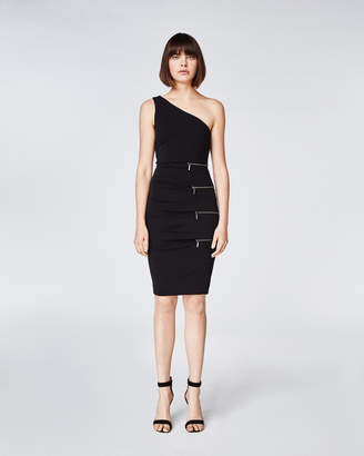 Nicole Miller One Shoulder Zipper Dress