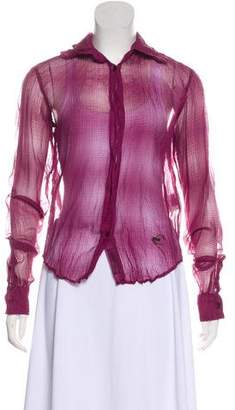 Just Cavalli Semi-Sheer Button-Up