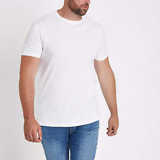 River Island Mens Big and Tall White muscle fit T-shirt