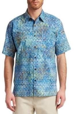 Saks Fifth Avenue COLLECTION Diamond Print Hawaiian Shirt