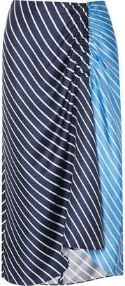 Tibi Delphina Ruched Striped Silk-twill Midi Skirt - Midnight blue