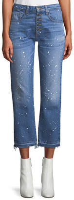 Veronica Beard Ines Straight-Leg Girlfriend-Style Jeans with Paint Splatter