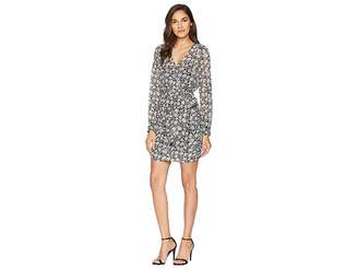 1 STATE 1.STATE Long Sleeve Wrap Front Wild Blooms Dress