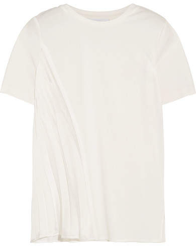 DKNY - Stretch-jersey And Plissé Satin T-shirt - White