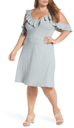 LOST INK Cold Shoulder Ruffle Dress (Plus Size)