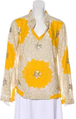 Tory Burch Sequined Long Sleeve Top