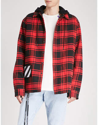 Off-White Checked brushed cotton-blend jacket