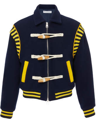 Toggle-Embellished Wool-Felt Varsity Jacket