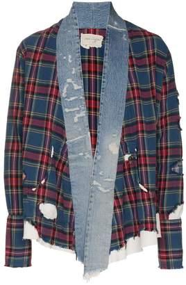 Greg Lauren checked and denim front cotton kimono
