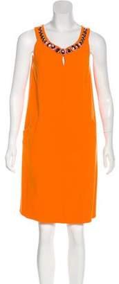 Oscar de la Renta Wool Embellished Dress