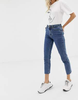 Only high waist straight leg jean in blue