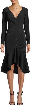 Tadashi Shoji V-Neck Pintuck Jersey Dress w/ Ruffle Hem