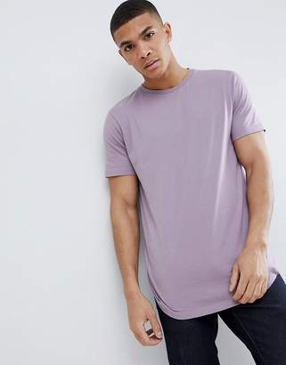 Asos Design DESIGN longline t-shirt with crew neck and curved hem in purple