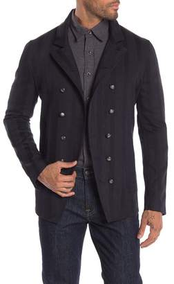 John Varvatos Striped Double Breasted Woven Jacket