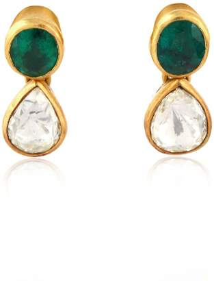 Artisan Diamond & Emerald Dangle Earring
