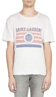 Saint Laurent Flag& Logo Print Cotton Crewneck Tee