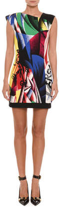 Versace Sleeveless Clash-Print Fitted Sheath Cocktail Dress