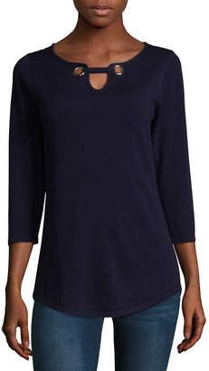 ISELA Isela 3/4 Sleeve Grommet Knit Tunic Top