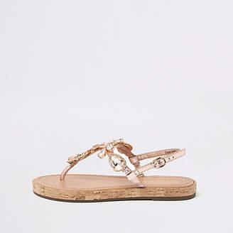 River Island Gold leather embellished flat sandals