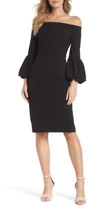 Eliza J Off the Shoulder Bell Sleeve Scuba Crepe Dress (Regular & Petite)