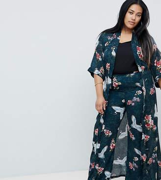 Club L Plus Long Sleeve Maxi Printed Kimono