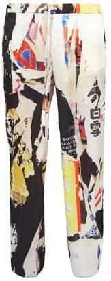 Marques'almeida - Wide Leg Printed Satin Trousers - Mens - Multi