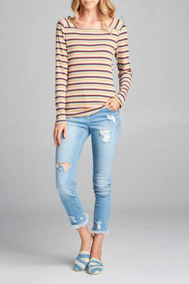 Paper Crane Striped Square Neck Top