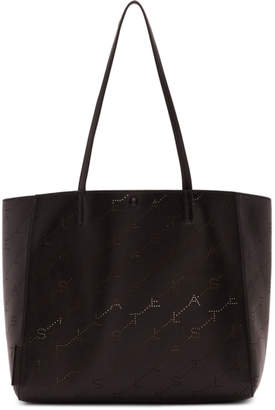 Stella McCartney Black Small Perforated Logo Tote