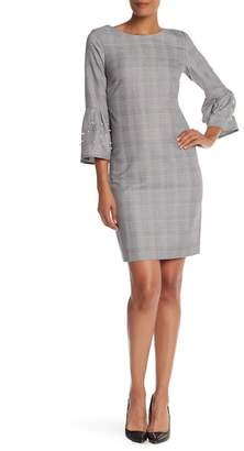 Sandra Darren 3\u002F4 Sleeve Print Embellished Pearl Dress