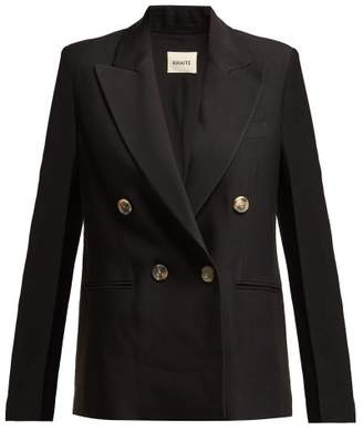 Khaite - Isa Double Breasted Twill Blazer - Womens - Black