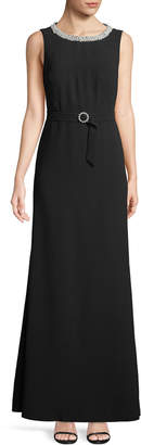 Karl Lagerfeld Paris Belted Pearly-Trim Gown