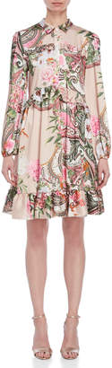 Blugirl Printed Ruffled Satin Shirtdress