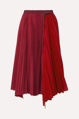 Sacai Melton Pleated Wool-blend And Satin Midi Skirt - Red