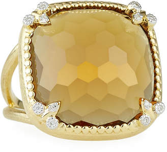 Jude Frances 18K Citrine Cushion Fleur Cocktail Ring w/ Diamonds, Size 6.5