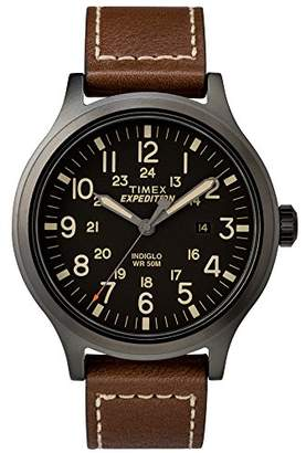 Timex Men's TW4B11300 Expedition Scout 43 Leather Strap Watch