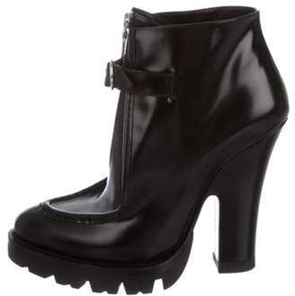Prada Leather Pointed-Toe Ankle Boots Black Leather Pointed-Toe Ankle Boots