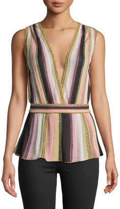 M Missoni Sleeveless Metallic Stripe Double-V Neck Top