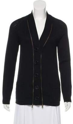 Chloé Wool Zipper-Accented Cardigan