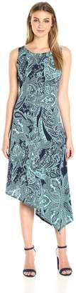 OneWorld Women's Sleeveless Printed Asymmetrical Hem Metro Length Dress
