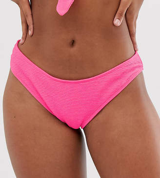 Peek & Beau Exclusive scrunch high leg bikini bottom in pink