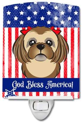 Shih Caroline's Treasures American Flag and Chocolate Brown Tzu Ceramic Night Light
