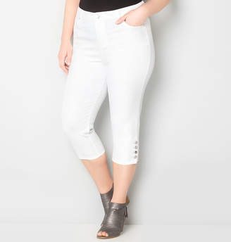 Avenue Virtual Stretch Side Button Capri (White)