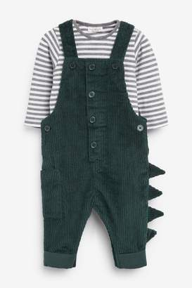 Next Boys Green Jumbo Cord Dungarees And Bodysuit Set (0mths-2yrs) - Green