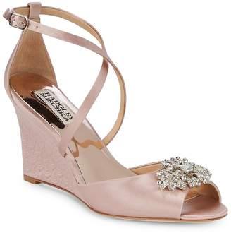 Badgley Mischka Women's Abigail Embellished Satin Ankle Strap Sandals