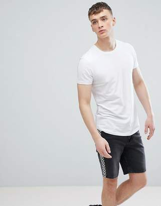 Esprit Longline Muscle Fit T-Shirt In White With Curved Hem