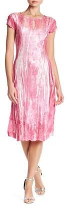 Komarov Cap Sleeve Keyhole Print Dress