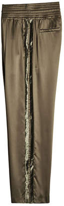 Brunello Cucinelli Satin Pants with Velvet