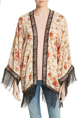 Women's The Kooples Fleurs D'Artifice Floral Print Fringe Kimono $375 thestylecure.com
