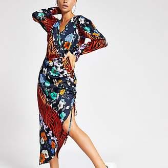 River Island Orange printed wrap midi dress